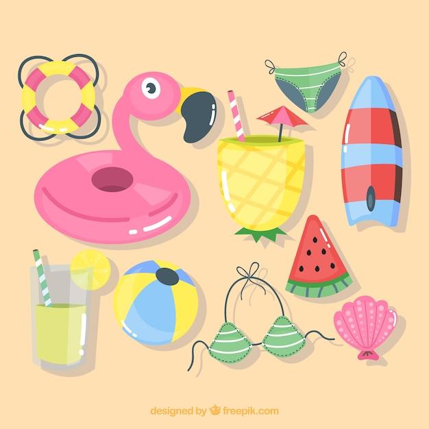 Coleção de verão com elementos na mão desenhada estilo Vetor grátis