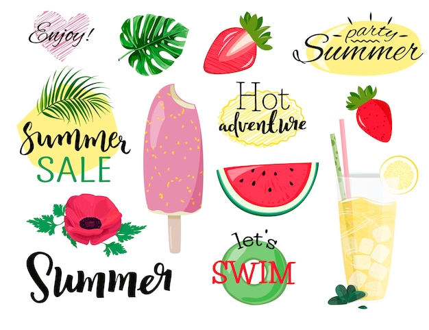 Coleção de verão. Vetor Premium