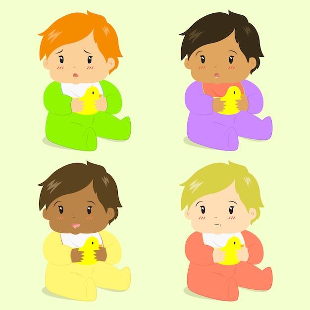 Coleção de vetor adorável meninas bebê Vetor Premium