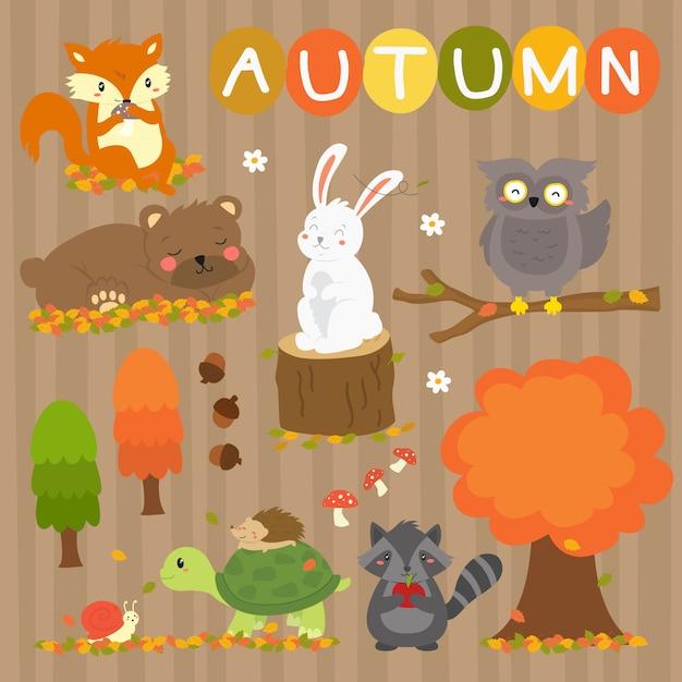 Coleção de vetores de animais de outono bonito. animais da temporada de outono Vetor Premium