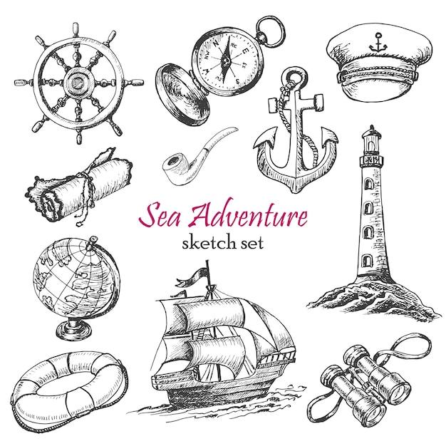 Coleção de vetores de aventura do mar Vetor Premium