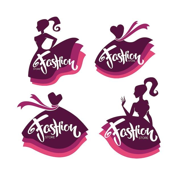 Coleção de vetores de boutique de moda e logotipo da loja, etiqueta, emblemas com silhuetas de senhora Vetor Premium