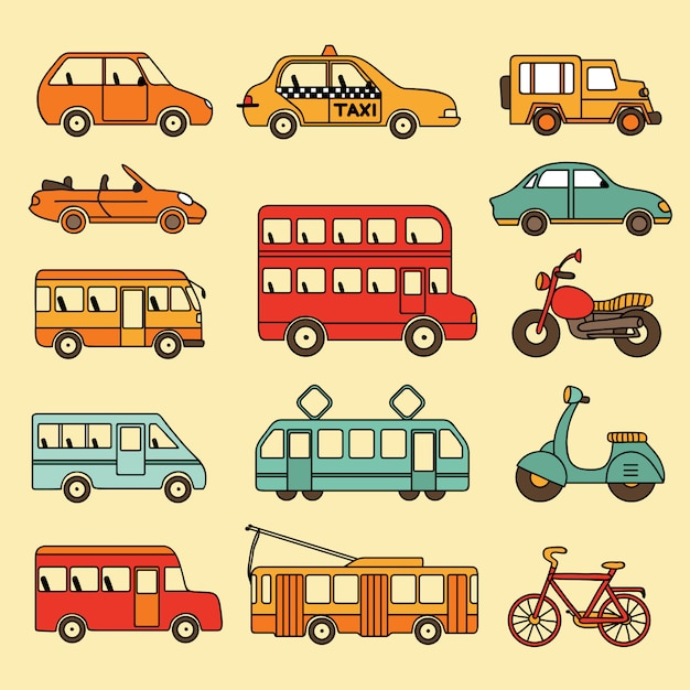 Coleção de vetores de carros e ônibus Vetor Premium