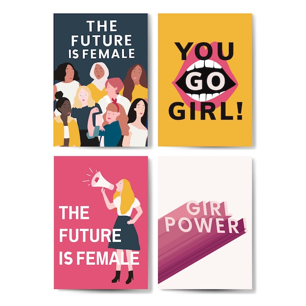 Coleção de vetores de cartaz de mensagem feminista Vetor grátis