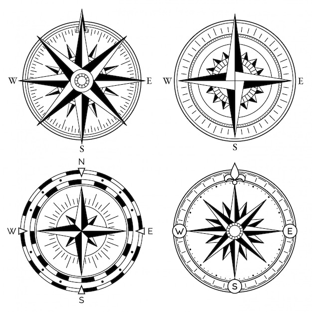 Coleção de vetores de design retro rosa dos ventos Vetor Premium