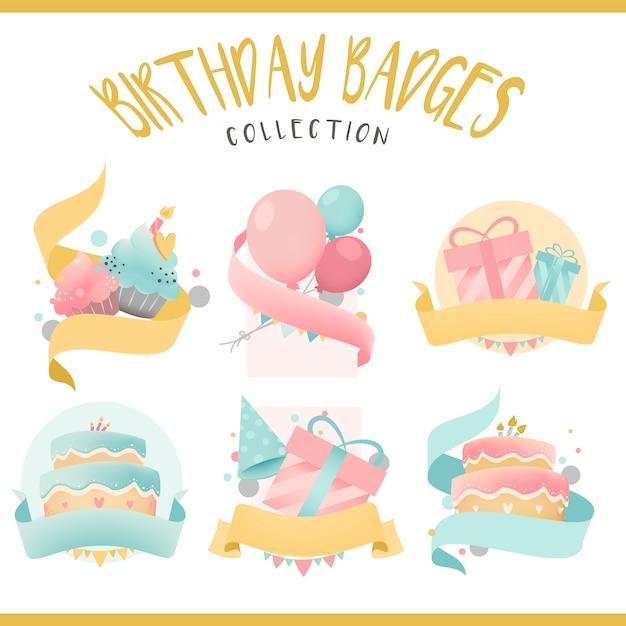Coleção de vetores de distintivo de aniversário colorido Vetor grátis