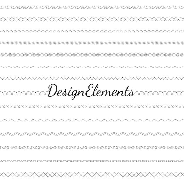 Coleção de vetores de elementos de design linha divisória Vetor grátis
