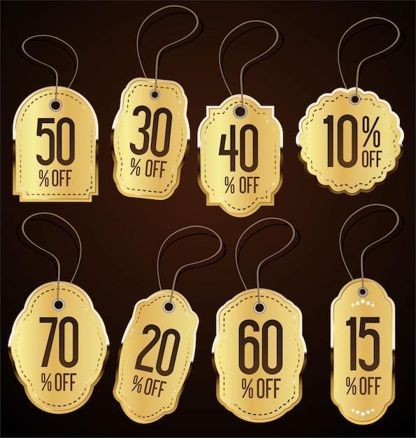 Coleção de vetores de estilo vintage venda tags design Vetor Premium