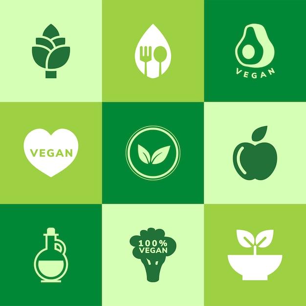 Coleção de vetores de ícone vegan Vetor grátis