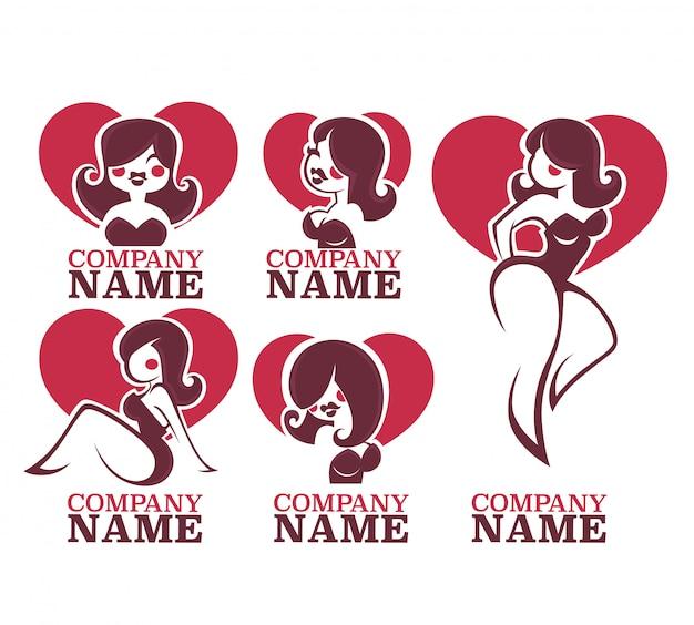 Coleção de vetores de ilustração de meninas pinup e logotipo Vetor Premium