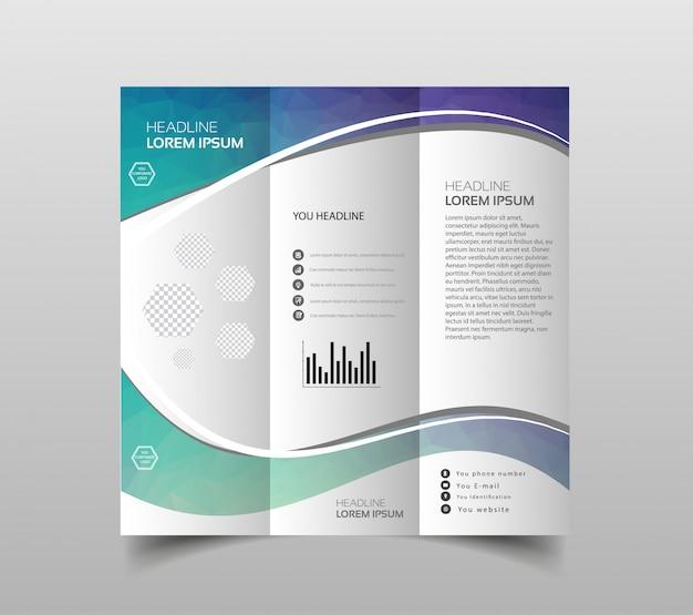 Coleção de vetores de modelos de design de folheto dobrável em três partes Vetor Premium