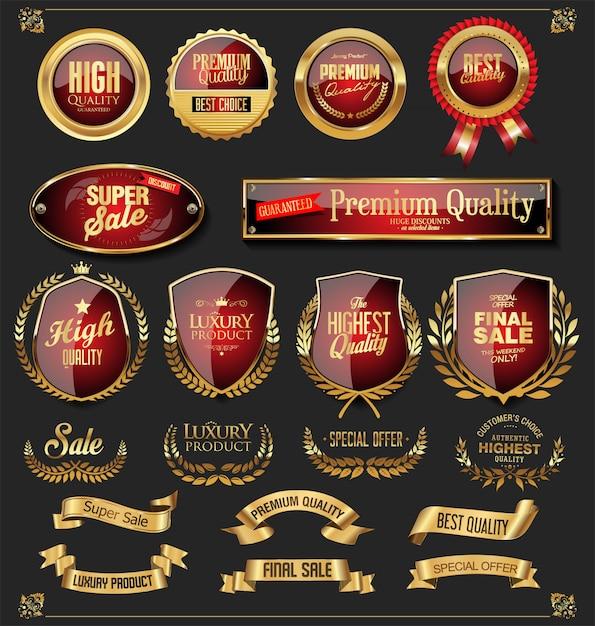 Coleção de vetores de rótulos e escudos de fitas douradas retrô Vetor Premium