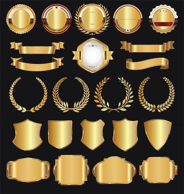 Coleção de vetores de rótulos e escudos de fitas retrô dourado Vetor Premium
