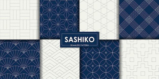 Coleção de vetores sashiko padrão sem emenda japonesa Vetor Premium