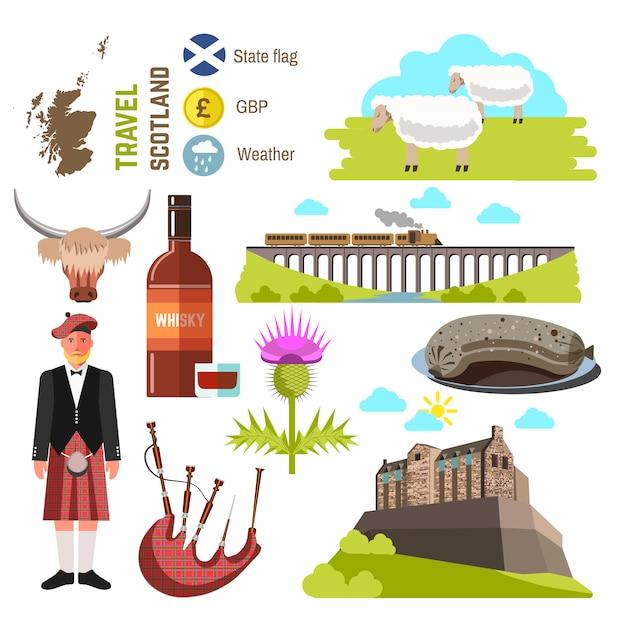 Coleção de viagens na escócia. ilustração vetorial. Vetor Premium