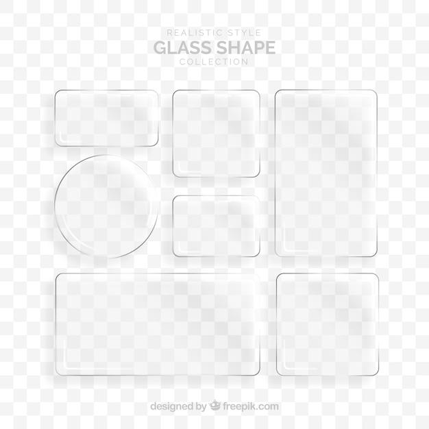 Coleção de vidro com formas diferentes Vetor grátis