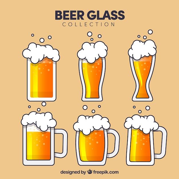 Coleção de vidro e copo de cerveja plana Vetor grátis
