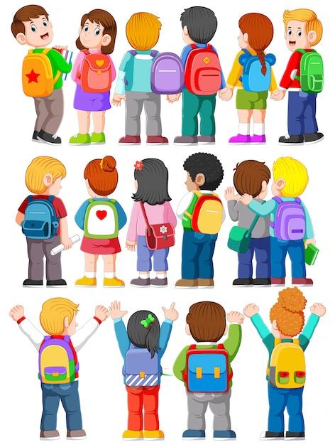 Coleção de vista traseira ilustração de estudante universitário usando mochilas Vetor Premium