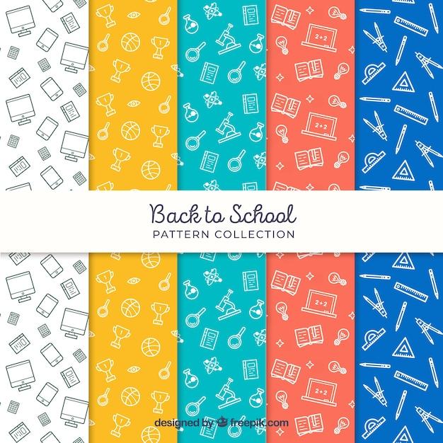 Coleção de volta aos padrões de escola em cores diferentes Vetor grátis