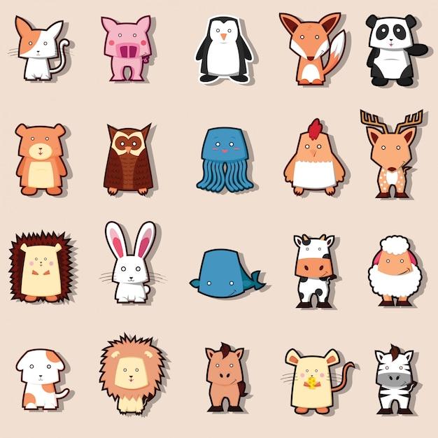Coleção de zoológico animal fofo Vetor Premium