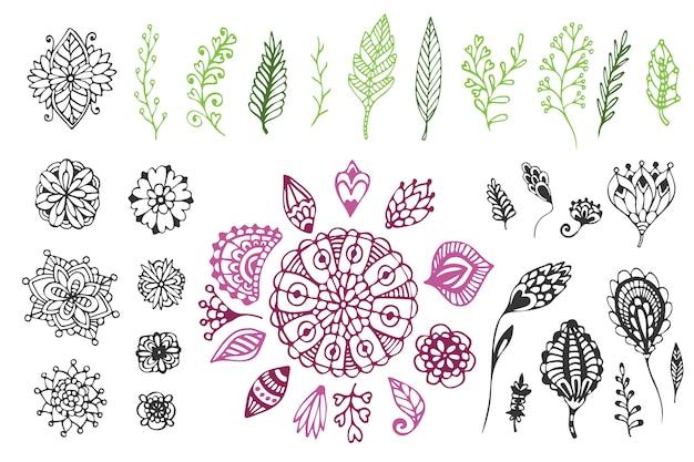 Coleção desenhada a mão da big nature. ilustração bonito do vetor com flores e folhas do doodle Vetor Premium