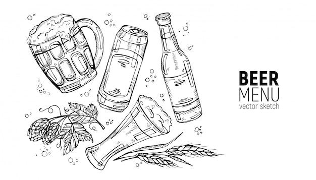 Coleção desenhada à mão de cerveja e ingredientes de cerveja Vetor Premium