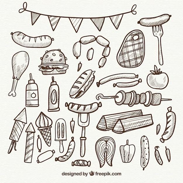 Coleção desenhada a mão de elementos do churrasco em estilo simples Vetor grátis