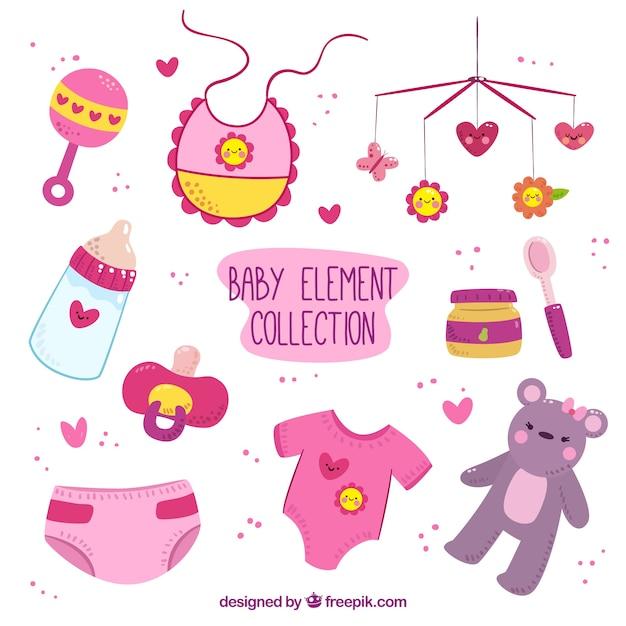 Coleção desenhada à mão de itens de rosa e roxo do bebê com detalhes amarelos Vetor grátis