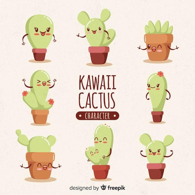 Coleção desenhada mão de cacto kawaii Vetor Premium