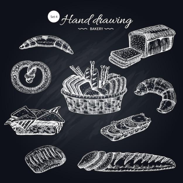 Coleção desenhada mão de produtos de farinha Vetor grátis