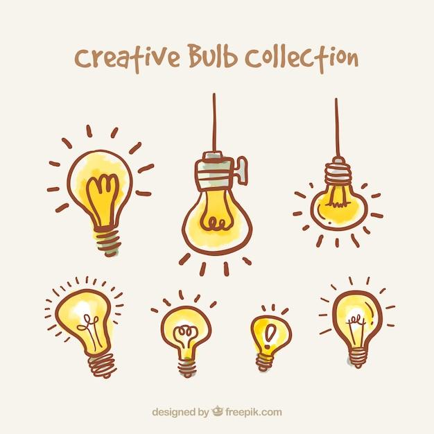 Coleção desenhada mão lâmpadas Vetor grátis
