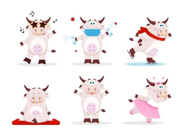 Coleção desenho animado bonito vaca Vetor Premium