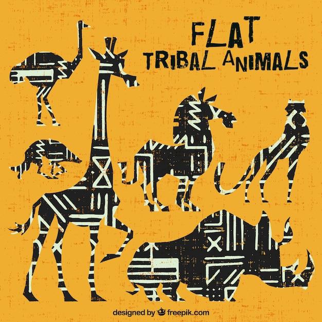 Coleção do animal africano étnica no design plano Vetor grátis