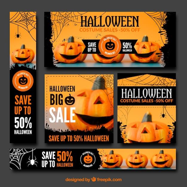 Coleção do banner de venda de halloween Vetor grátis