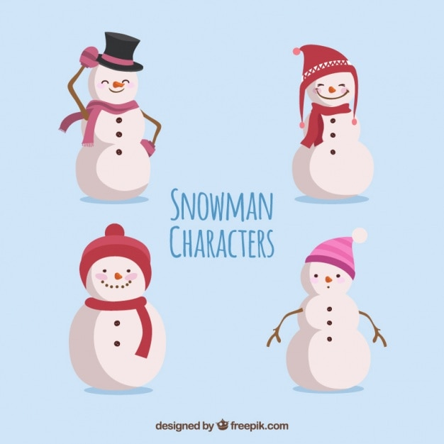 Coleção do boneco de neve com chapéus diferentes Vetor grátis