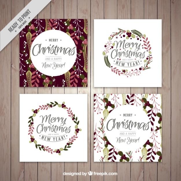 coleção do cartão de Natal floral Vetor grátis