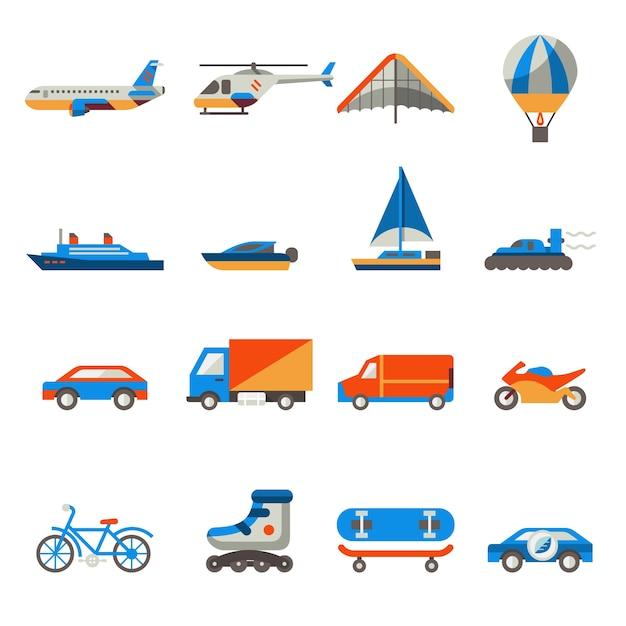 Coleção do ícone do transporte Vetor grátis
