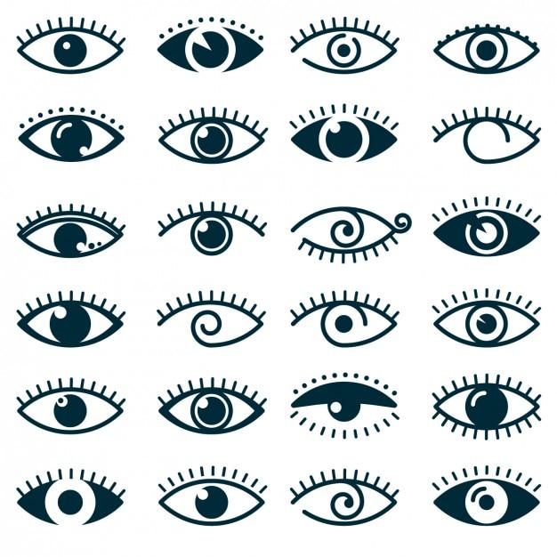 Coleção do ícone olhos diferentes Vetor grátis