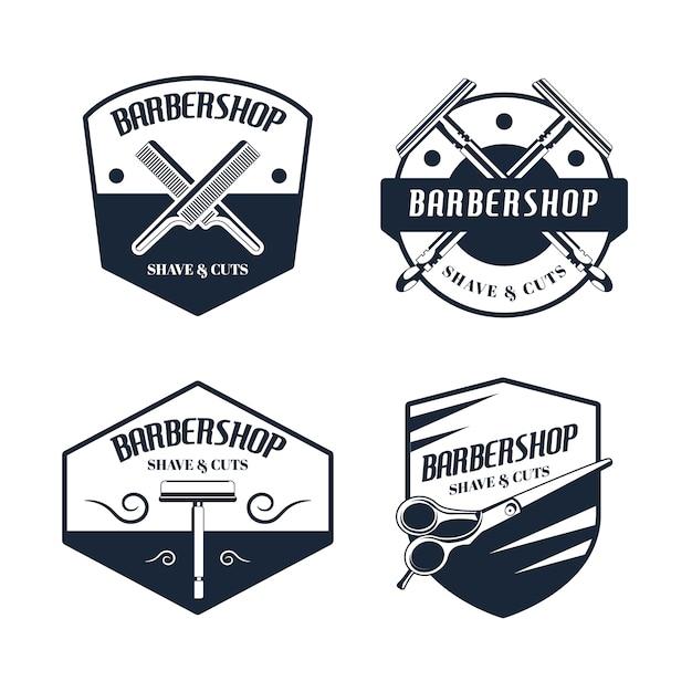 Coleção do logotipo do barbeiro vintage Vetor grátis