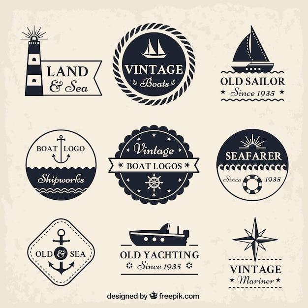 Coleção do logotipo do barco do vintage Vetor grátis