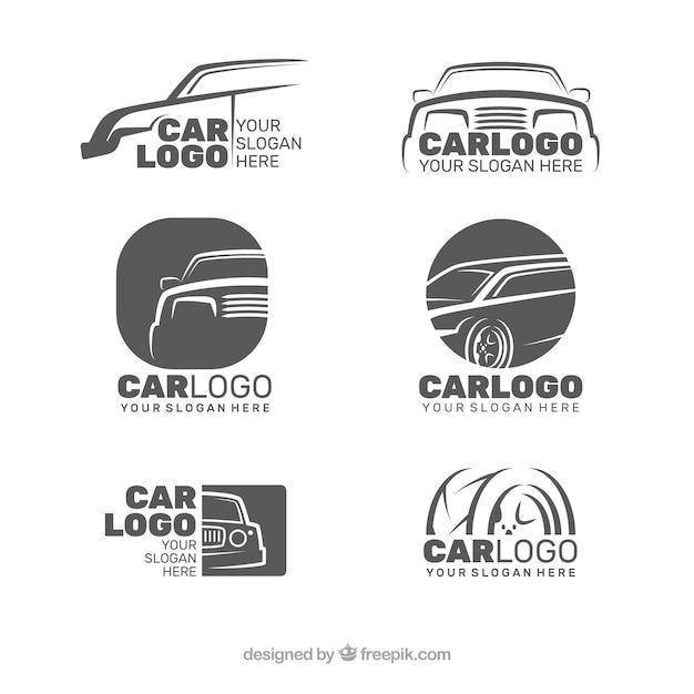 Coleção do logotipo do carro cinza Vetor Premium