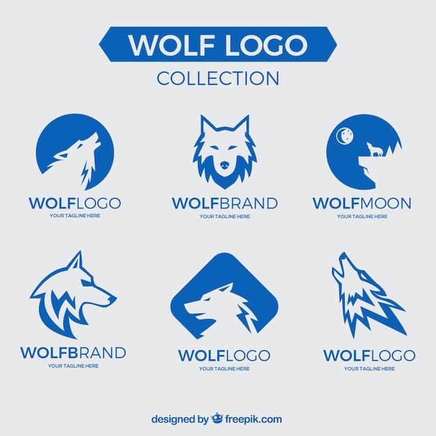 Coleção do logotipo do lobo Vetor grátis