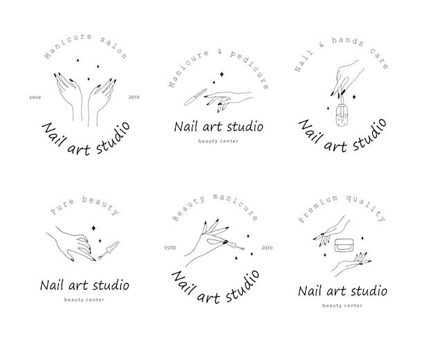 Coleção do logotipo do nail art studio isolado no branco Vetor Premium