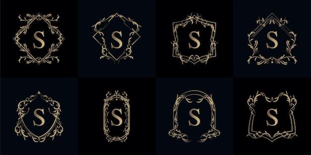 Coleção do logotipo inicial s com ornamento de luxo ou moldura de flor Vetor Premium