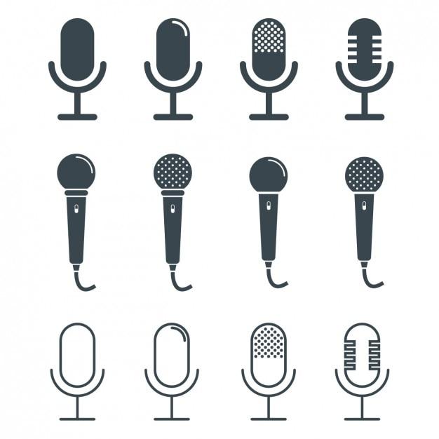Coleção do projeto microfones Vetor grátis
