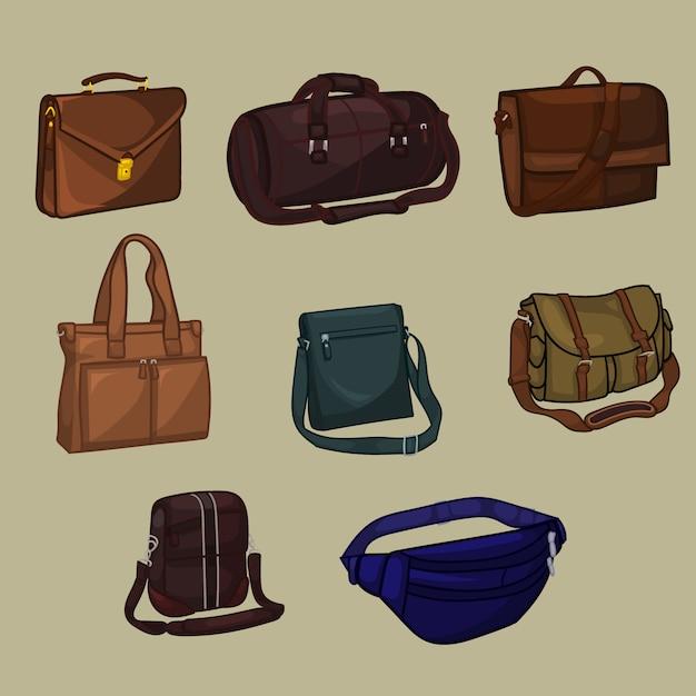 Coleção do saco do homem Vetor Premium