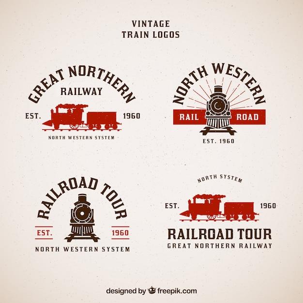 Coleção do trem do logotipo do vintage Vetor grátis