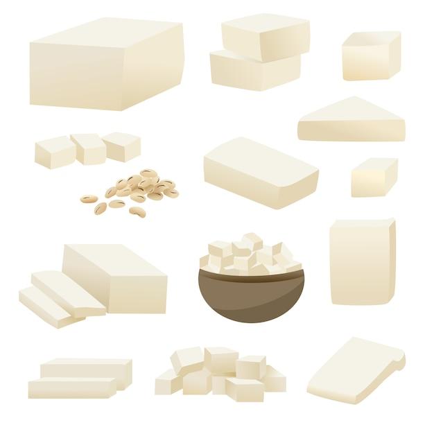 Coleção do vetor do tofu na fatia quadrada no copo e no feijão de soja. Vetor Premium