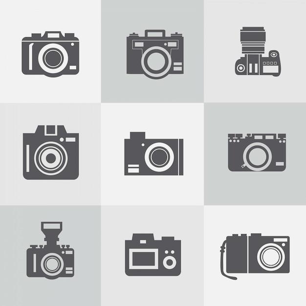 Coleção do vetor do vintage livre câmeras fotográficas Vetor grátis