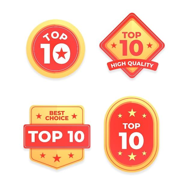 Coleção dos 10 melhores emblemas Vetor Premium